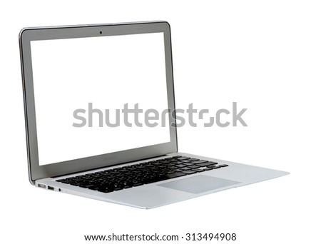 Laptop on a white background.
