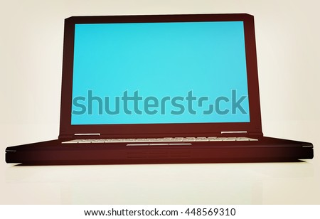 Laptop on a white background. 3D illustration. Vintage style.