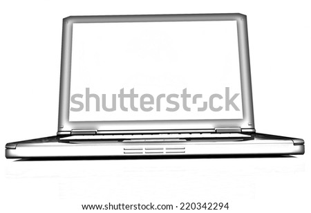 Laptop on a white background. Pencil drawing  - stock photo