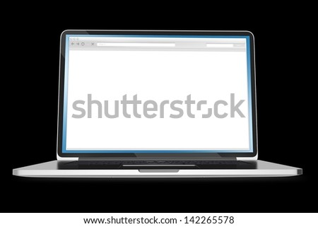 Laptop on Black Background. Blank Browser Window on the Screen. Computers Illustrations Collection. - stock photo