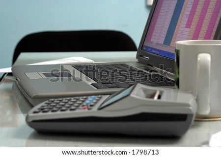 Laptop on Desk, focus on the Keyboard
