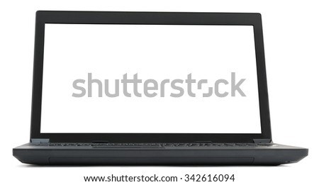 Laptop on isolated white background, front view