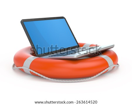 Laptop on lifebuoy over white, support, service concept. - stock photo