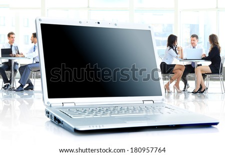 laptop on office desk - stock photo