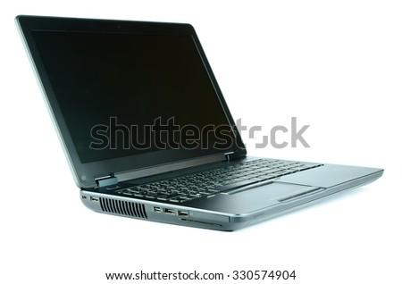 Laptop on white background - stock photo