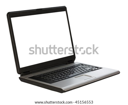 laptop on white background with clipping path