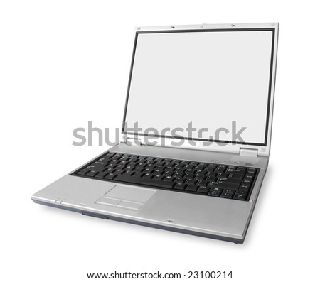 laptop on white (contains clipping paths)