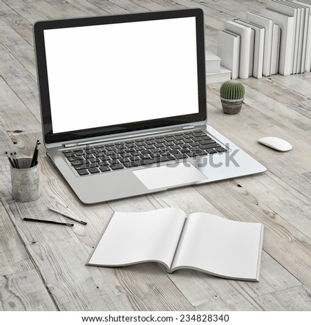 Laptop on wooden floor, mock up  - stock photo