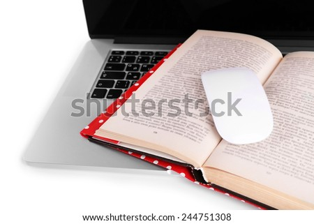 Laptop, open book and computer mouse on white background - stock photo