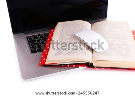 Laptop, open book and computer mouse on white background
