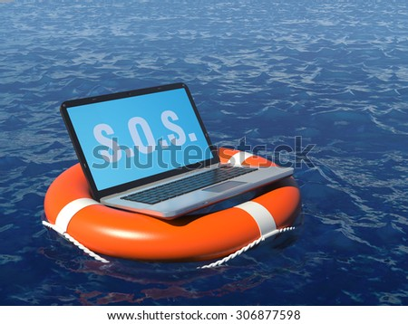 Laptop pc in lifebuoy on deep whater. Software rescue concept illustration. - stock photo