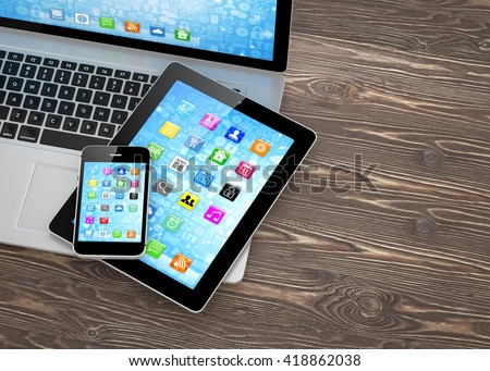 Laptop, phone and tablet pc. 3d rendering. - stock photo
