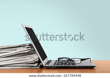 Laptop, press, news. - stock photo