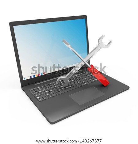 Laptop Service Concept. Modern Laptop with Wrench and Screwdriver isolated on white background