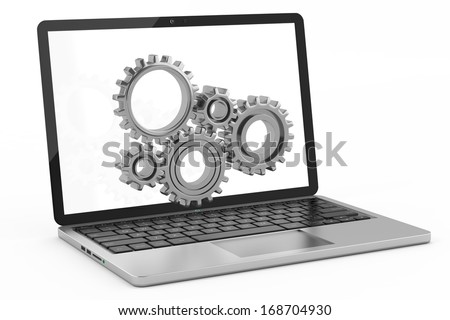 Laptop settings concept - stock photo