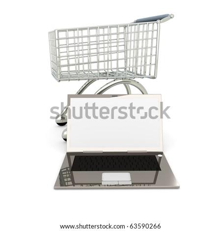 Laptop Shopping - stock photo