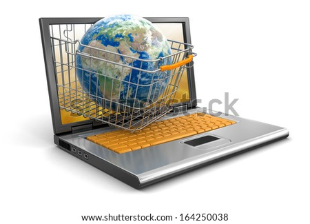 Laptop, Shopping Basket and Globe (clipping path included) Elements of this image furnished by NASA  - stock photo