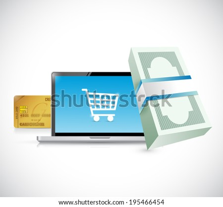 laptop shopping concept illustration design over a white background - stock photo