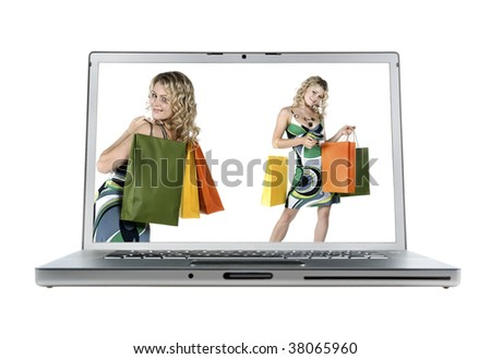 laptop & Shopping sexy woman