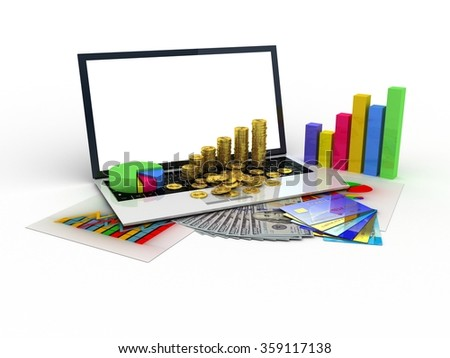 Laptop showing a spreadsheet and a paper with statistic charts, surrounded by some 3d charts - stock photo
