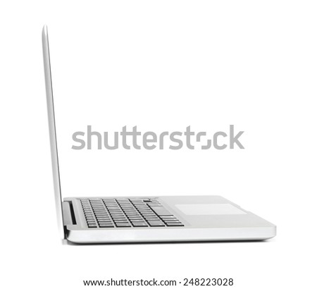 Laptop - side view - stock photo