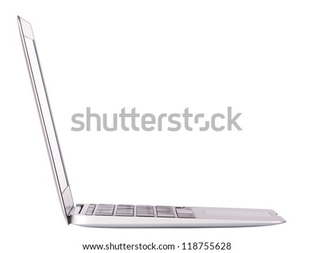 Laptop side view. Isolated on white background - stock photo
