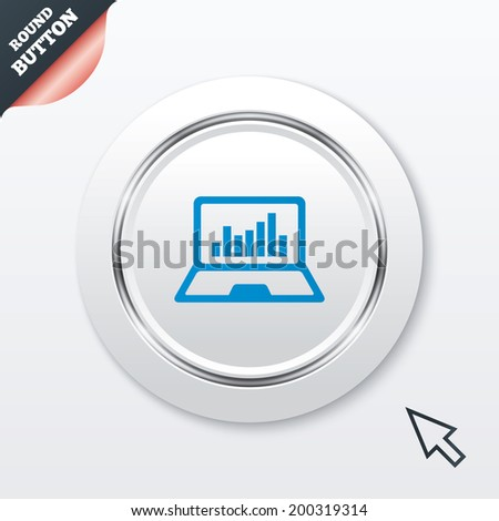 Laptop sign icon. Notebook pc with graph symbol. Monitoring. White button with metallic line. Modern UI website button with mouse cursor pointer. - stock photo