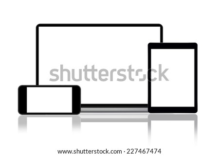 Laptop, smart phone and tablet computer