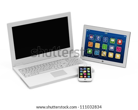 Laptop, Smart Phone and Tablet PC isolated on white background - stock photo