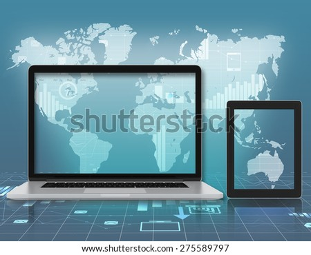 Laptop, tablet on background of world map with icons.
