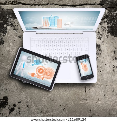 Laptop, tablet pc and smartphone - stock photo