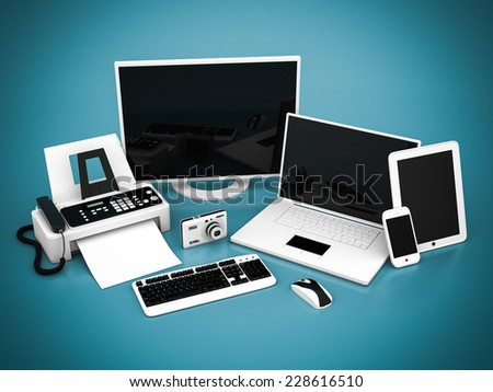Laptop, Tablet PC and Smartphone on a blue background