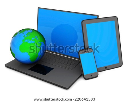 Laptop, Tablet PC and Smartphone on a white background
