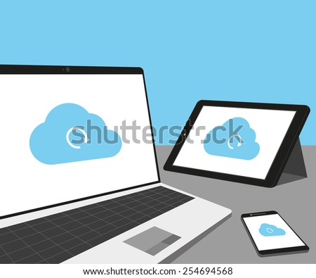 Laptop, tablet pc and smartphone with cloud sync. - stock photo