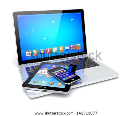Laptop, tablet pc computer and mobile smartphone with a blue background and colorful apps on a screen. Isolated on a white. 3d image