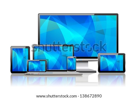 Laptop, tablet pc, mobile phone and navigator are shown in the image. - stock photo