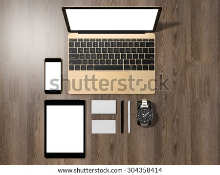 Laptop, tablet, phone, all in one place. High resolution  - stock photo