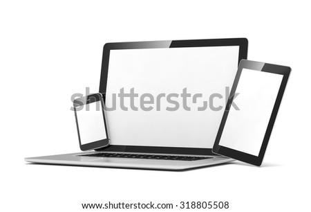 laptop, tablet, phone, on white - stock photo