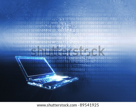 Laptop technology background - stock photo