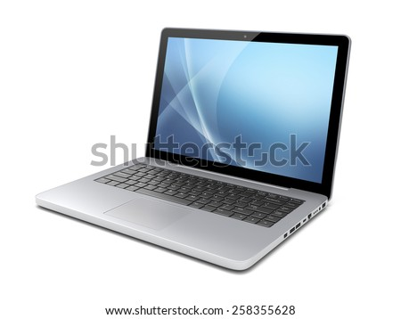 Laptop with a blue background on screen. Isolated on a white. 3d image