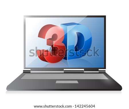 Laptop with a 3d screen. Illustration design over white - stock photo