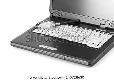 Laptop with a magnify glass