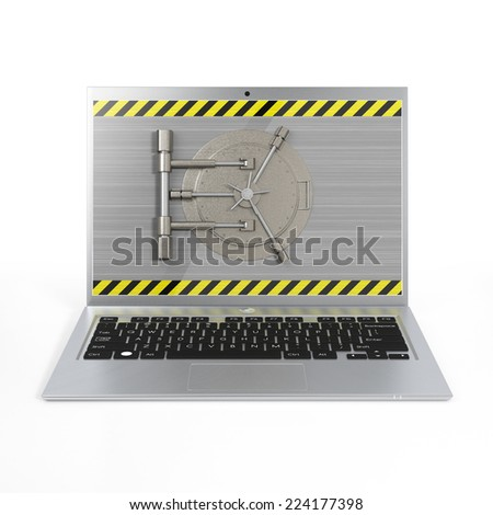 Laptop with a safe lock. Data security and privacy concept. Isolated on white. - stock photo