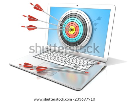 Laptop with archery target and red arrows in the center. 3D rendering - concept of search engine optimization - SEO. Isolated on white background - stock photo