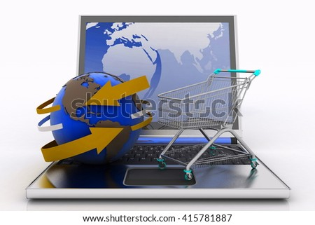 Laptop with arrow and Shopping cart with a globe. The concept of buying gifts and commodities on the Internet. 3d illustration on white background