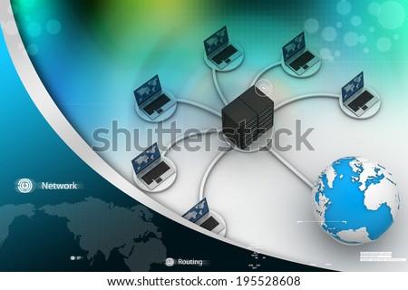 laptop with big server Net Work firewall. 3D Image - stock photo