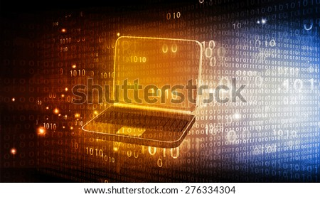 laptop with binary code on tech background - stock photo