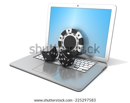 Laptop with black dice and chip. 3D rendering - concept of online gambling. Isolated on white background