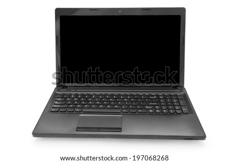 laptop with black monitor on a white background isolated