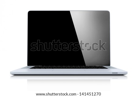 Laptop with Black Screen Isolated on White Background - stock photo